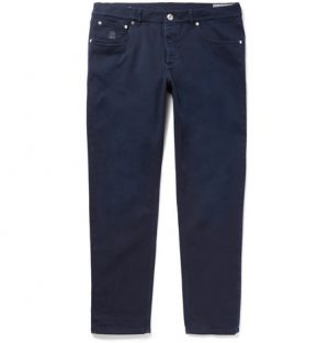 Brunello Cucinelli - Slim-Fit Stretch-Denim Jeans - Men - Navy