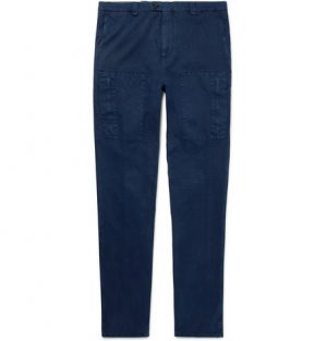Brunello Cucinelli - Stretch-Cotton Cargo Trousers - Men - Storm blue