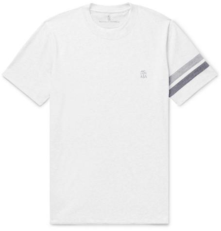 Brunello Cucinelli - Striped Mélange Cotton-Jersey T-Shirt - Men - White