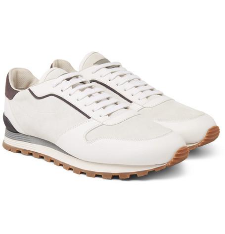 Brunello Cucinelli - Suede and Full-Grain Leather Sneakers - Men - White
