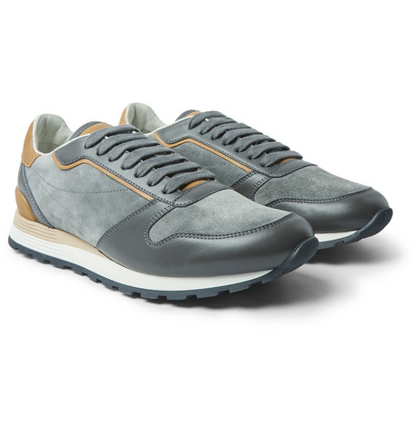 Brunello Cucinelli - Suede and Leather Sneakers - Men - Gray