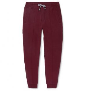 Brunello Cucinelli - Tapered Fleece-Back Stretch-Cotton Jersey Sweatpants - Men - Burgundy