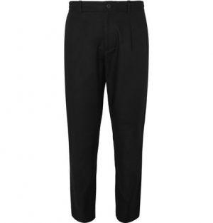 Club Monaco - Black Slim-Fit Pleated Cotton-Twill Trousers - Men - Black