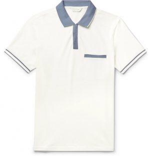 Club Monaco - Contrast-Trimmed Stretch-Cotton Piqué Polo Shirt - Men - White