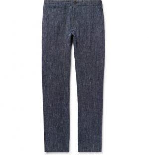 Club Monaco - Navy Slim-Fit Striped Linen Trousers - Men - Navy