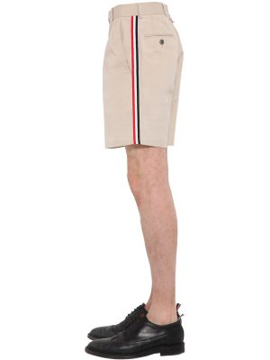 Cotton Blend Chino Shorts W/ Side Bands
