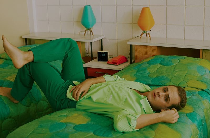 Australian actor Dacre Montgomery dons a MSGM shirt for the pages of GQ Germany.