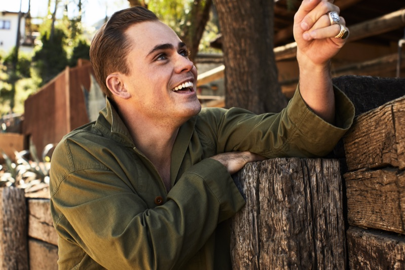 All smiles, Dacre Montgomery wears a camp-collar shirt jacket.