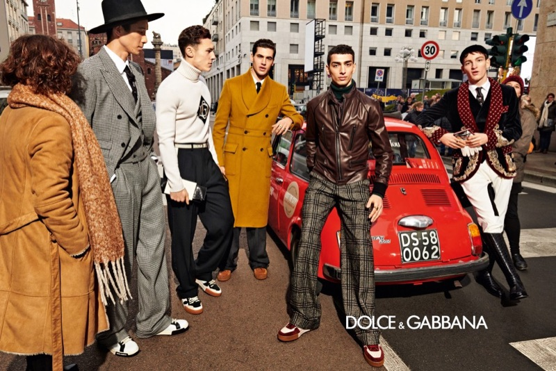 Ryoyu Katsushima, Dean Perona, Marco  Bellotti, Qaher Harhash, and Ivan Sudati come together for Dolce & Gabbana's fall-winter 2019 men's campaign.