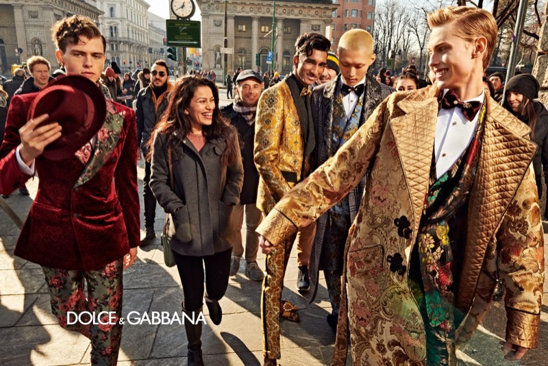 Andrea Quaranta, Jeenu Mahadevan, Won Kong, and Oliver Houlby take to the streets of Milan for Dolce & Gabbana's fall-winter 2019 men's campaign.