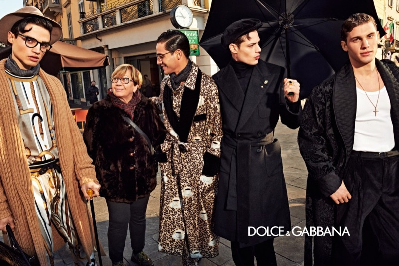 Rodrigo Almeida, Jhonattan Burjack, Luigi Anzolin, and Maxime Trabouile star in Dolce & Gabbana's fall-winter 2019 men's campaign.