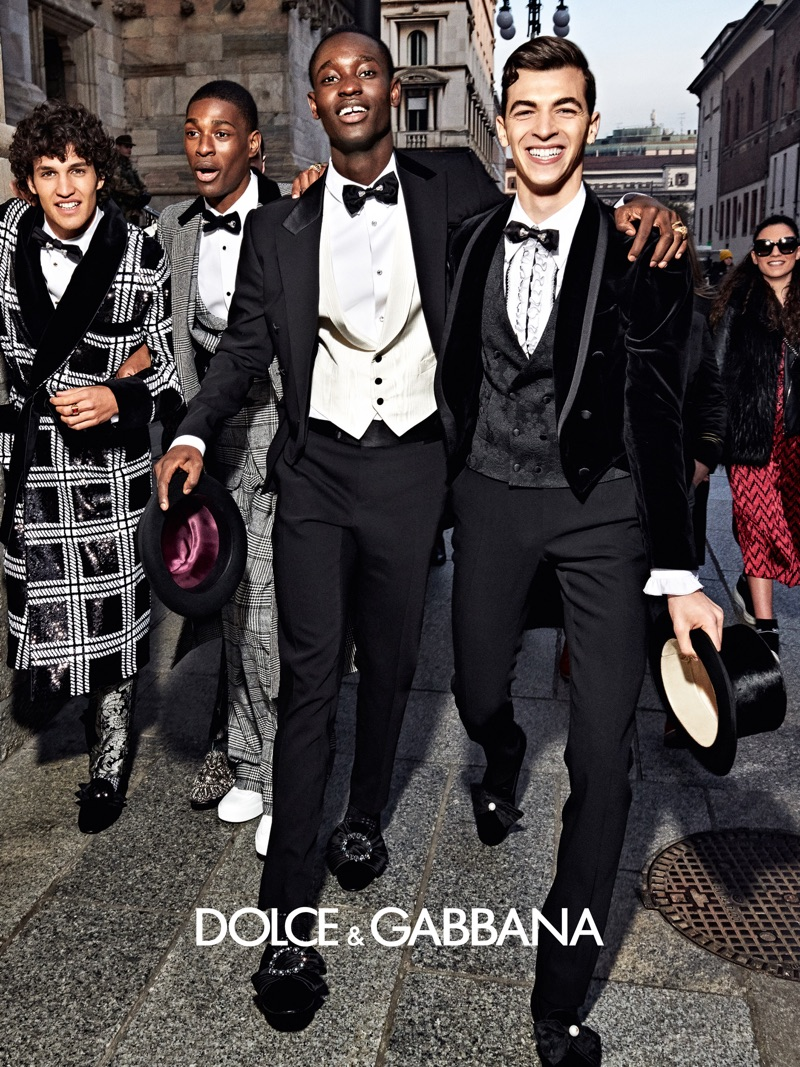 Francisco Henriques, Oliver Kludjeson, Charles Oduro, and Leonardo Dieter star in Dolce & Gabbana's fall-winter 2019 men's campaign.