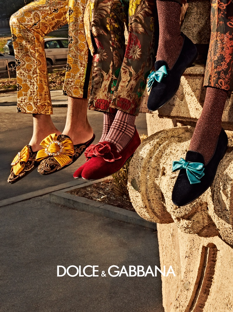 Embracing a dandy attitude, colorful loafers make the cut for Dolce & Gabbana's fall-winter 2019 men's campaign.