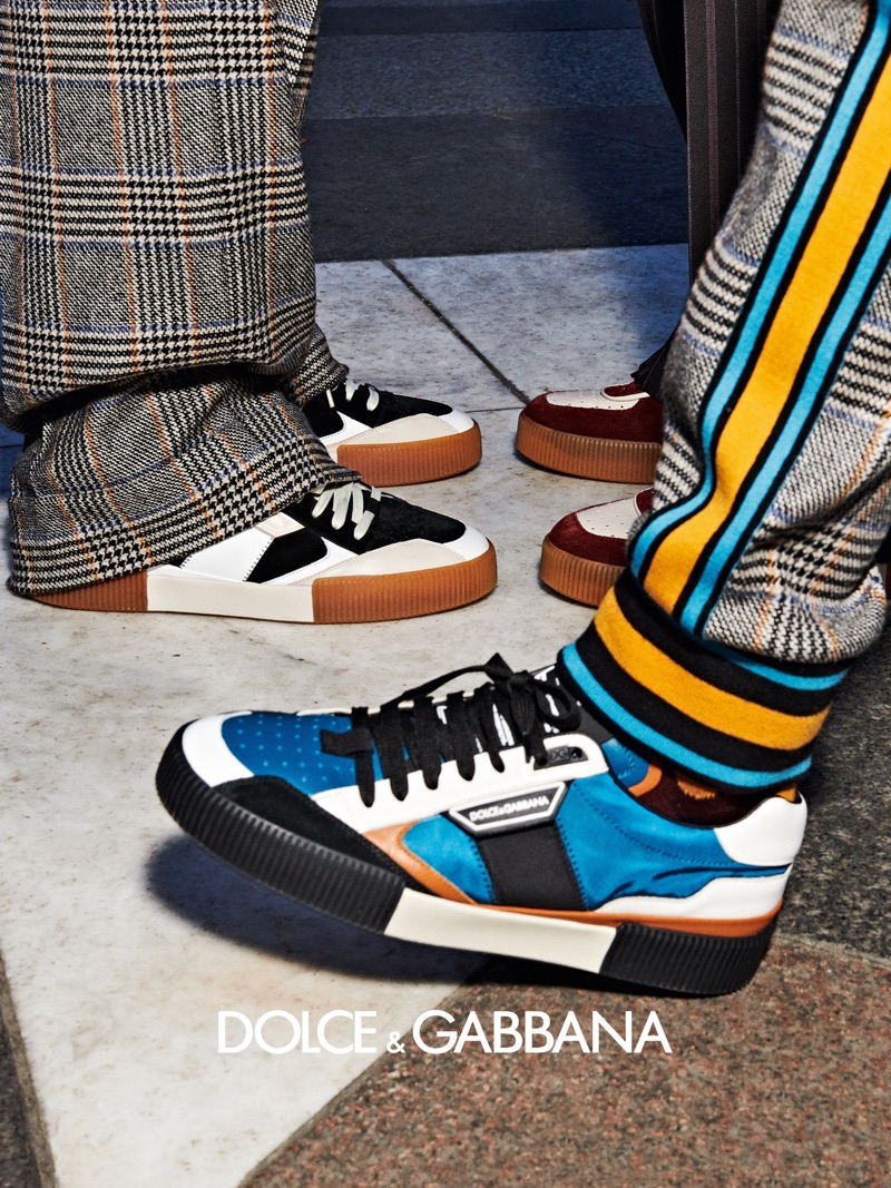 Dolce & Gabbana features its colorful sneakers as part of its fall-winter 2019 men's campaign.