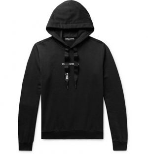 Dolce & Gabbana - Slim-Fit Logo-Embroidered Loopback Cotton-Jersey Hoodie - Men - Black