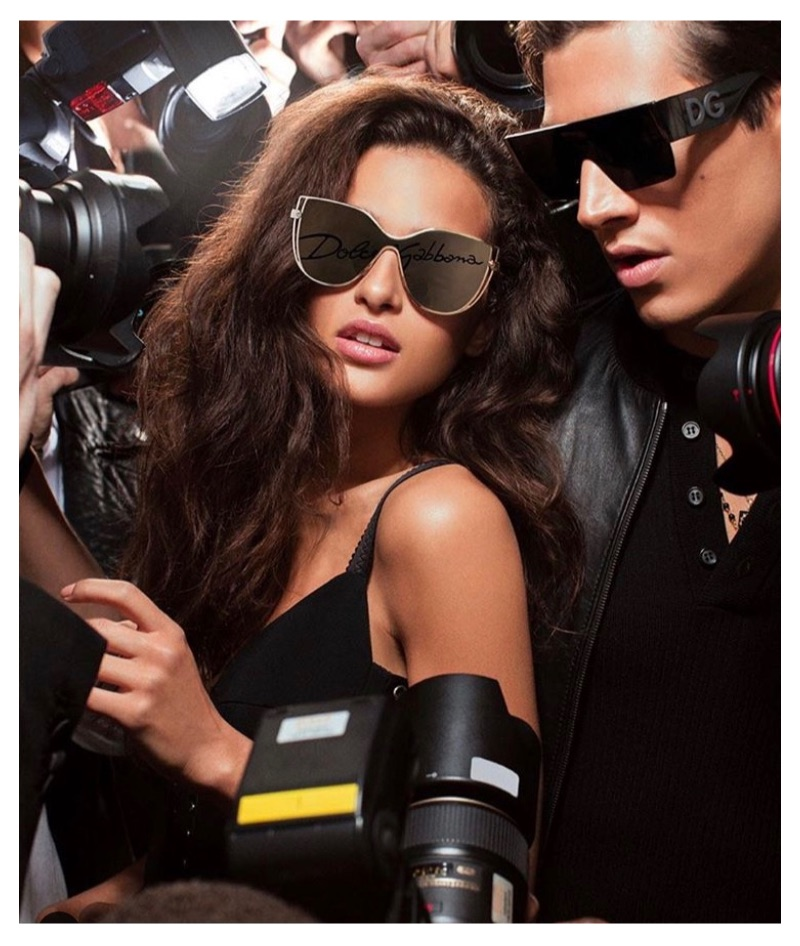 Models Chiara Scelsi and Marco Bellotti appear in Dolce & Gabbana's logo eyewear collection campaign.