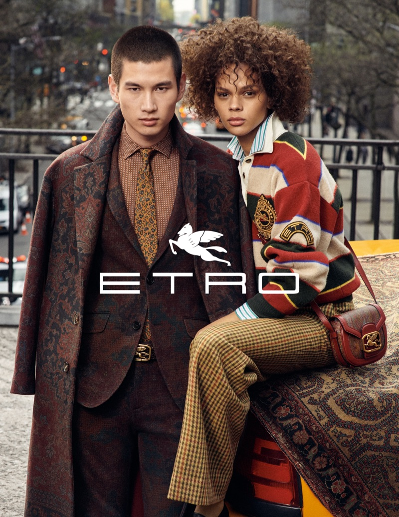 Kohei Takabatake and Hiandra Martinez front Etro's fall-winter 2019 campaign.