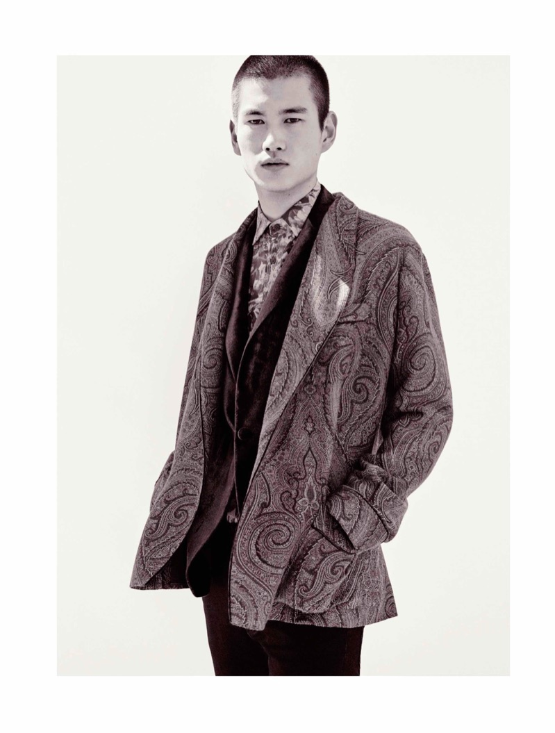 Front and center, Kohei Takabatake stars in Etro's fall-winter 2019 men's campaign.