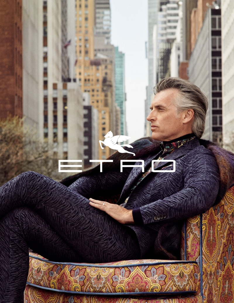 John Pearson appears in Etro's fall-winter 2019 men's campaign.