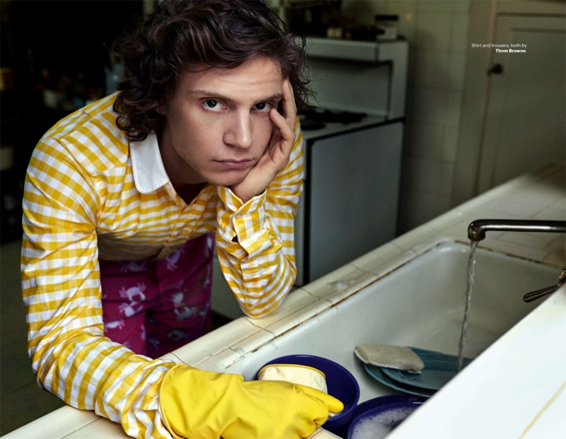 Starring in a new photo shoot, Evan Peters wears a look by Thom Browne.