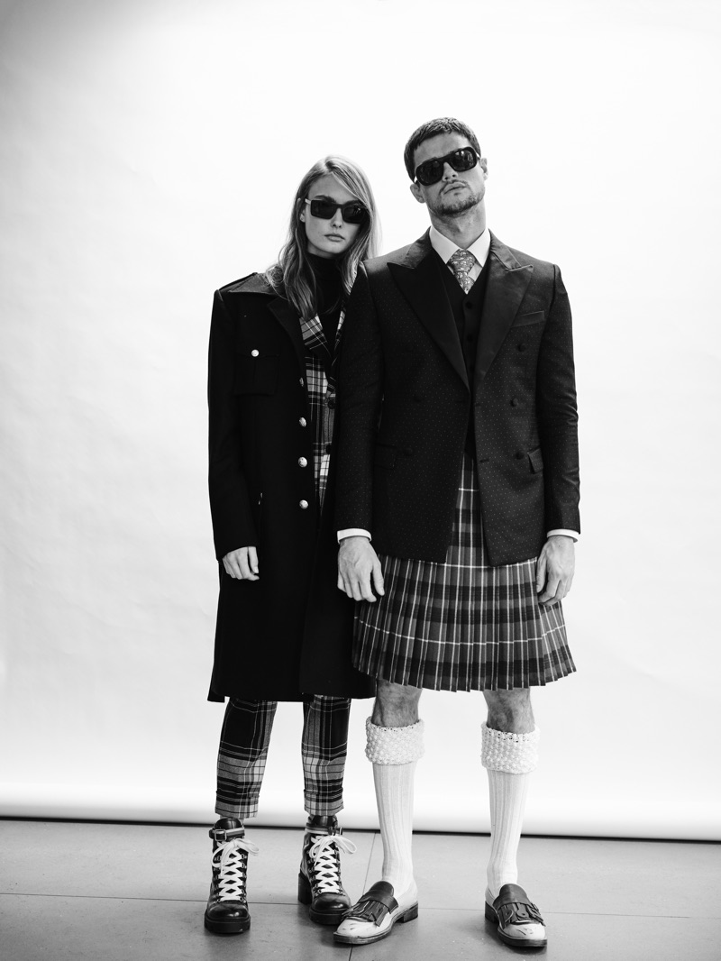 Embodying an effortless cool, Erin Heart and Christian Williams brush up on smart style in Helen Anthony. The models also wear sunglasses from Delirious Eyewear.