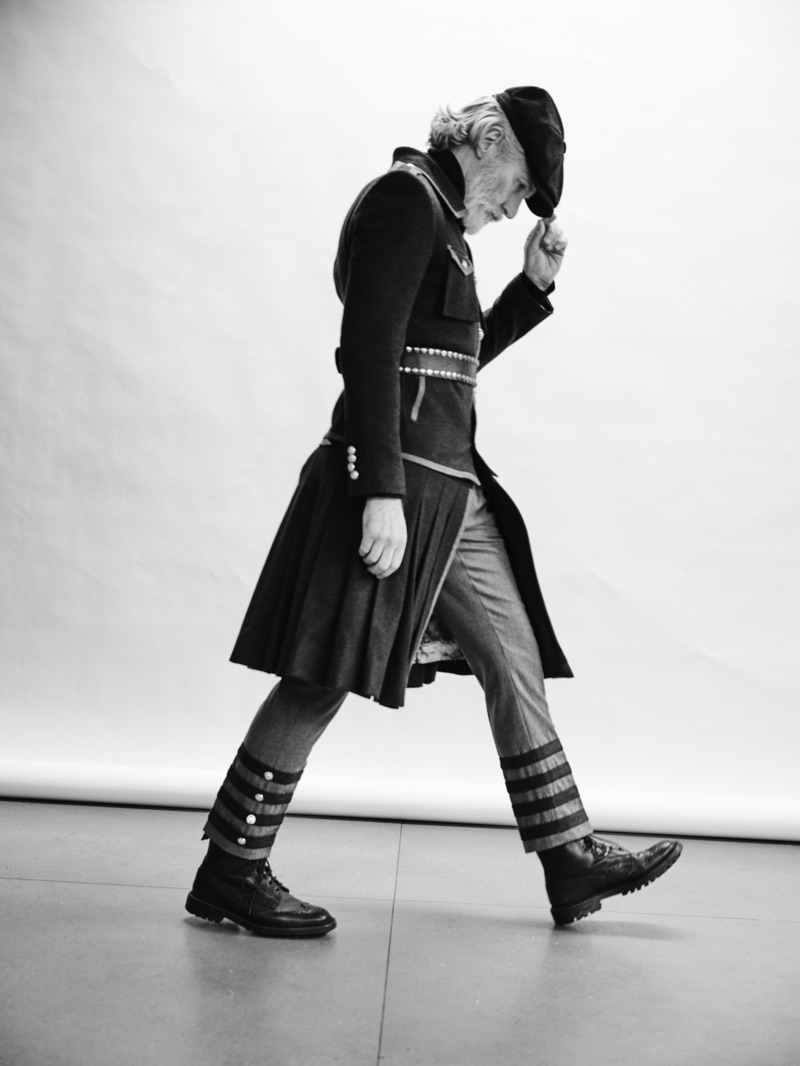 British model Aiden Brady channels military style in a look from Helen Anthony.