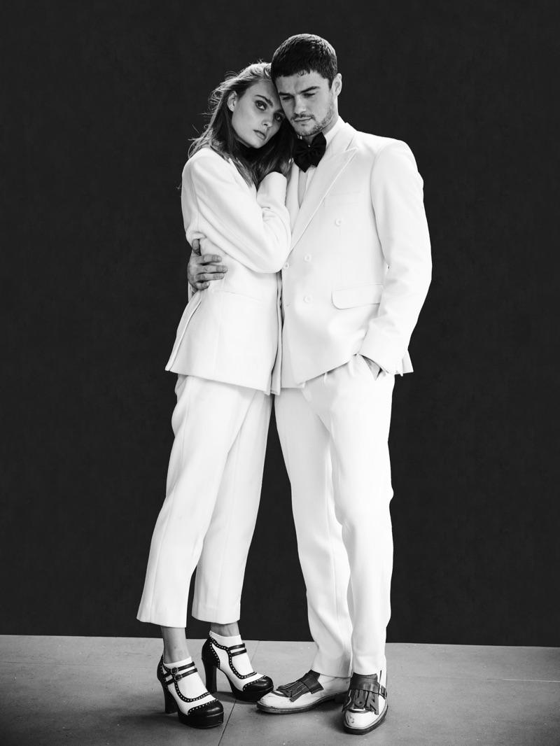 John Rowley photographs Erin Heart and Christian Williams in sleek white tailoring from Helen Anthony.