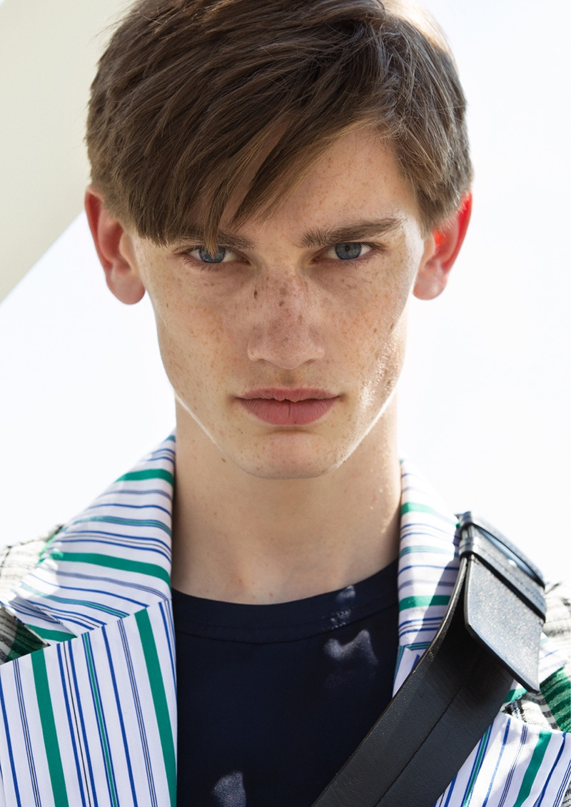 Fresh face Ilan van der Schaaf poses in a look from Kenzo.