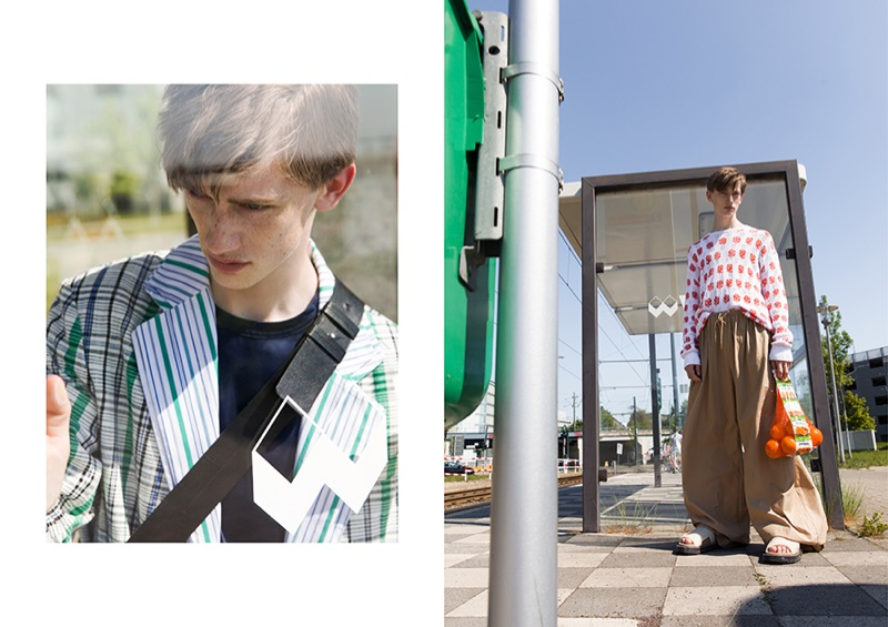 Ilan dons oversized fashions by Kenzo.