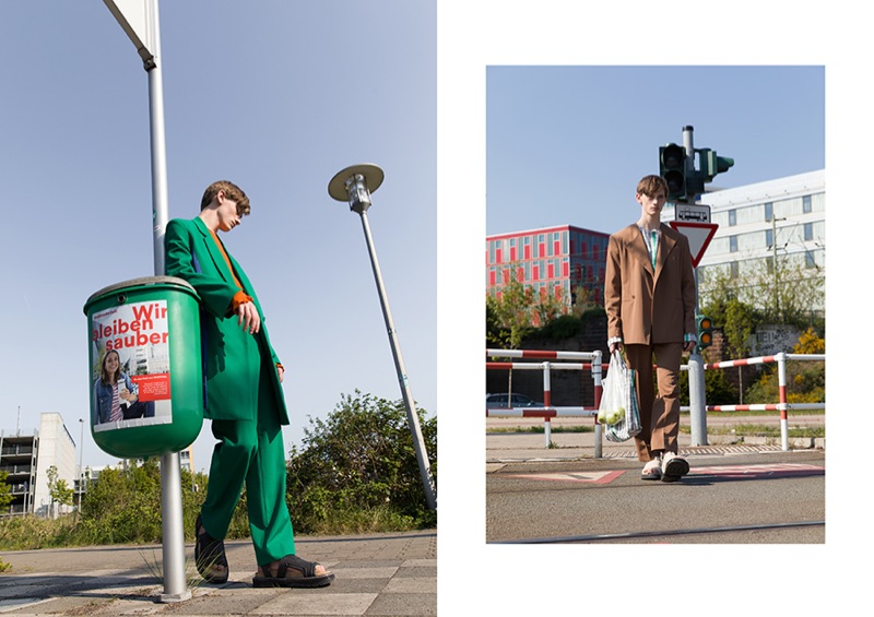 Stepping out in colorful proposals like a green suiting number, Ilan wears Kenzo.