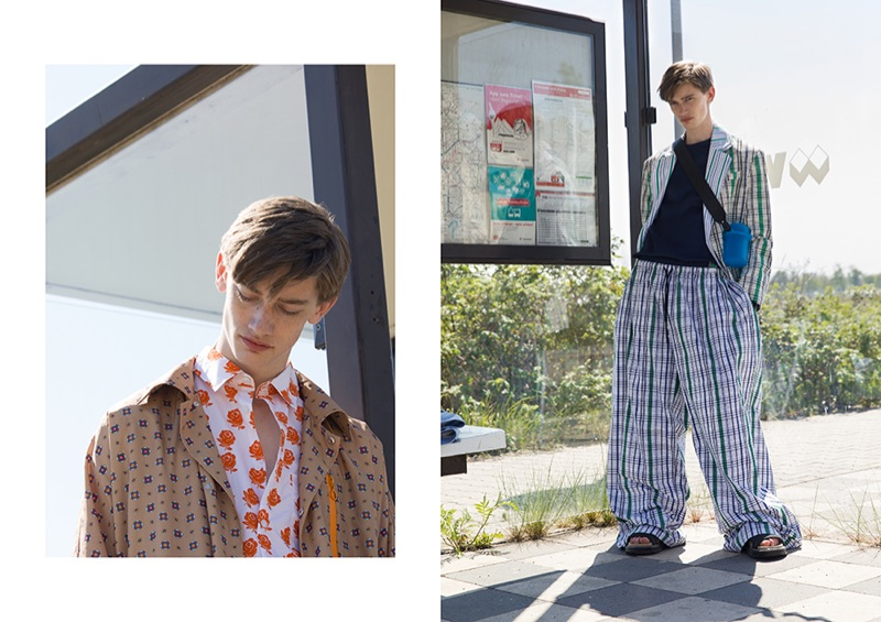 Captured at the tram station, Ilan wears Kenzo.