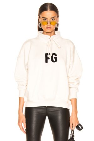 Fear of God Mock Neck 'FG' Pullover in White. - size XL (also in )