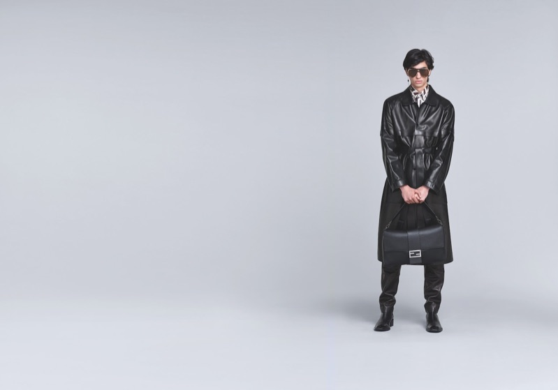 Model Aramish Mangi dons leather for Fendi's fall-winter 2019 men's campaign.