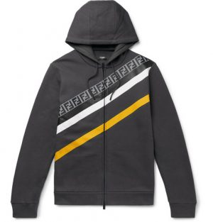 Fendi - Logo-Print Fleece-Back Cotton-Jersey Zip-Up Hoodie - Men - Gray