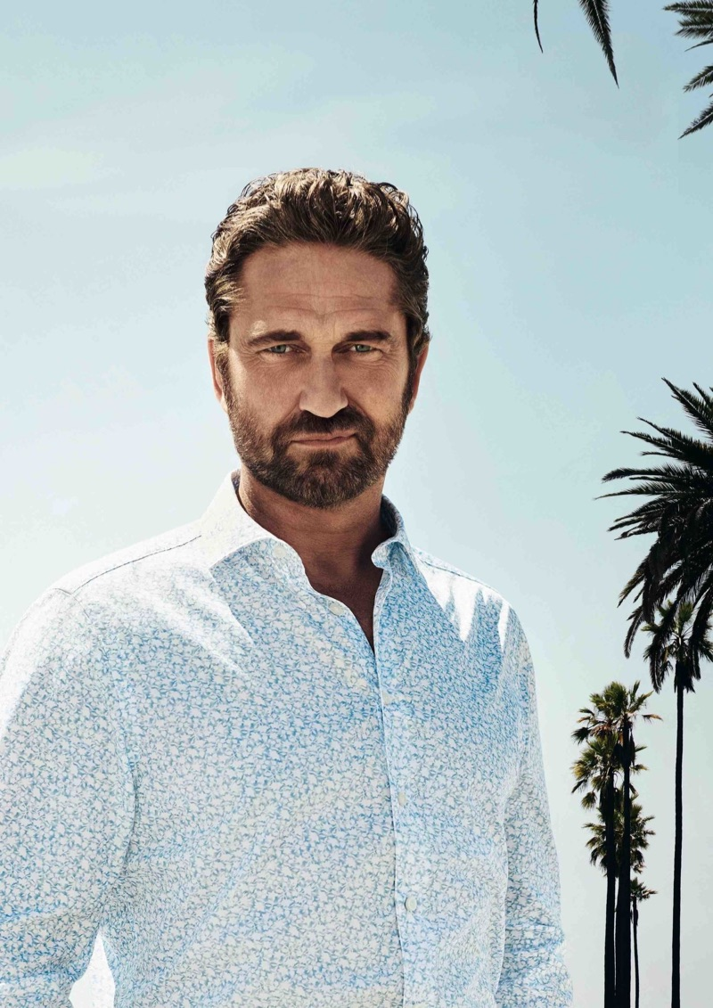 Gerard Butler dons a patterned shirt from OLYMP.