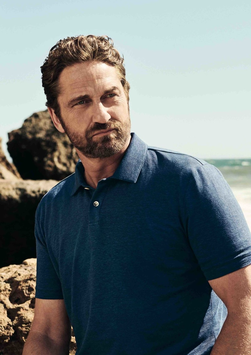 Donning a polo, Gerard Butler fronts a campaign for OLYMP.
