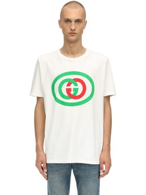 Gg Interlock Logo Printed Cotton T-shirt