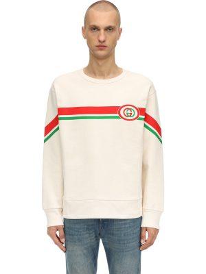 Gg Logo Print Cotton Sweatshirt