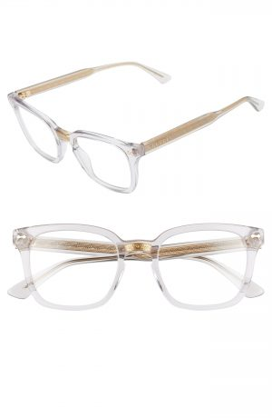 Gucci 50Mm Square Optical Glasses - Grey