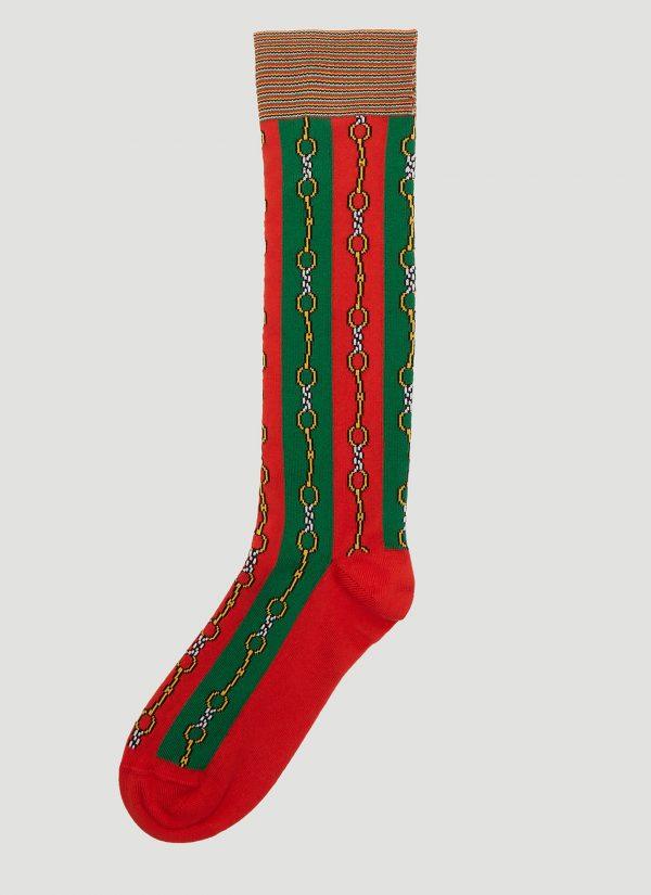 Gucci Chain Web Stripe Socks in Red size S