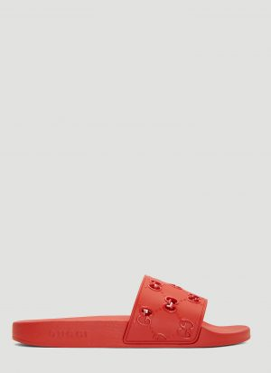 Gucci GG Cut-Out Rubber Slides in Red size UK - 06
