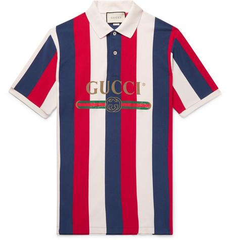 052643083 Gucci – Logo-Print Striped Cotton-Piqué Polo Shirt – Men – Multi ...
