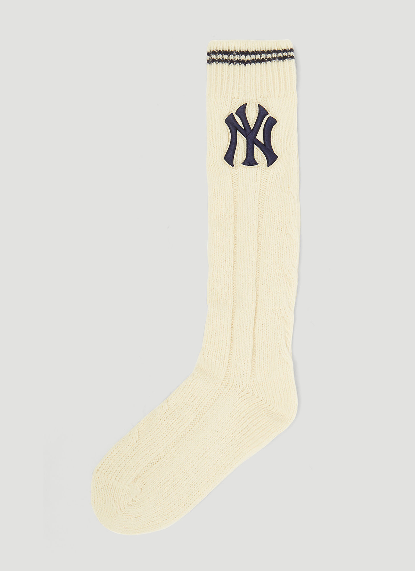 30903a500 Gucci NY Yankees Ribbed Wool Socks in Cream size M