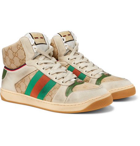 716b99329 Gucci - Screener Distressed Leather and Webbing High-Top Sneakers - Men -  Off-