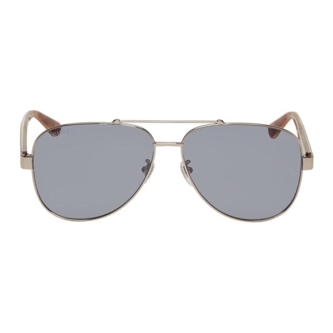 b5f77301 Gucci Silver Aviator Sunglasses