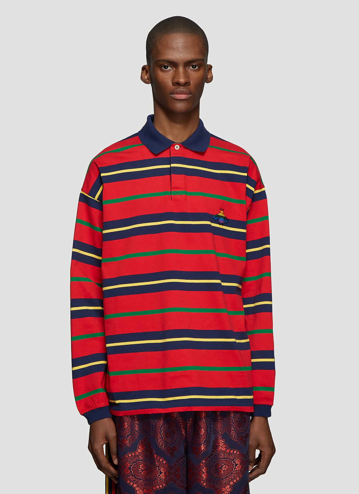 Gucci Striped Bee Long Sleeve Polo T-Shirt in Red size L ...