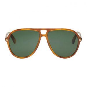 Gucci Tortoiseshell Urban Pilot Sunglasses