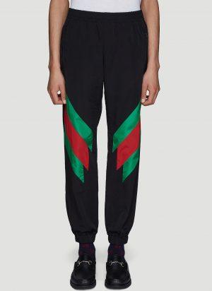 Gucci Web Intarsia Nylon Track Pants in Black size XL