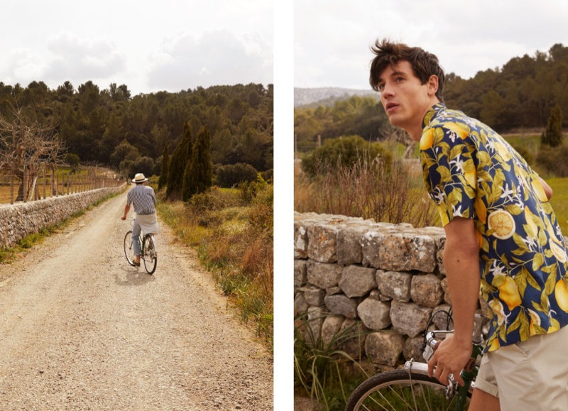 Pictured right, Nicolas Ripoll dons a lemon print resort shirt $12.99 by H&M.