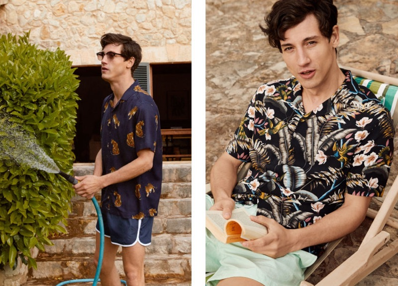 Left: Nicolas Ripoll wears a relaxed fit leopard print resort shirt $12.99 by H&M. Right: Nicolas sports a black tropical print resort shirt $12.99 from H&M.